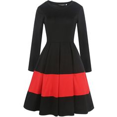 Round Neck  Patchwork Ruffled Hem  Color Block  Polyester Skater Dress (125 PEN) ❤ liked on Polyvore featuring dresses, ruffle hem dress, patchwork dresses, ruffle long dress, colorblock dress and ruffle dress