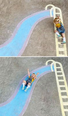 Mom Creates Beautiful Chalk Drawings On Her Driveway, Incorporating Her Daughter Into Each Of Them Pics) Chalk Photography, Chalk Photos, Chalk Design, Sidewalk Chalk Art, Chalkboard Art, Drawing For Kids, Easy Drawings, Fun Activities, Summer Fun