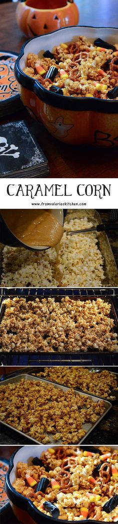 It's not Halloween without delicious, homemade Caramel Corn. Step-by-step photo tutorial! ~ http://www.fromvalerieskitchen.com