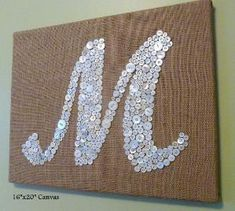 Personalized Button Letter Monogram on Burlap Canvas -- Wedding, Baby Shower, Housewarming Gift -- Custom Design Your Own Mozley Button Letters, Monogram Letters, Initial Art, Personalized Buttons, Personalized Wall Art, Home Crafts, Diy And Crafts, Arts And Crafts, Diy Wall Art
