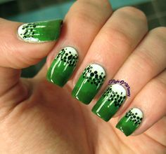 Kiwi!! #green #dotted #nailart -  bellashoot.com / bellashoot iPhone & iPad app