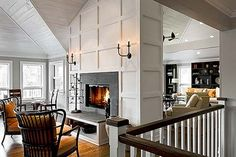 Double-sided Fireplace Open to Kitchen in lakehouse Fireplace Update, Home Fireplace, Living Room With Fireplace, Fireplace Surrounds, Fireplace Design, Fireplaces, Slate Fireplace, Fireplace Trim, Fireplace Kitchen