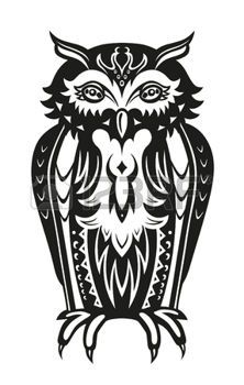 tribal owl: Pattern elements in a form of owl made in vector Illustration