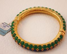 Vintage Hattie Carnegie Blue & Green Thermoplastic Bead Bracelet w/Paper Tags! #HattieCarnegie