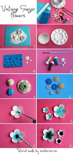 Tutorial Vintage Sugar flowers step-by-step description Fondant Rose, Fondant Flowers, Fondant Baby, Cake Flowers, Fondant Toppers, Fondant Cakes, Cupcake Cakes, Fondant Recipes, Car Cakes