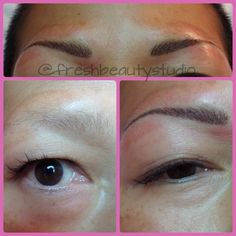 Before and after of 3D eyebrows with permanent makeup.