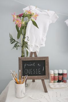 Paint a onesie Station // Belle + Beau Baby Shower