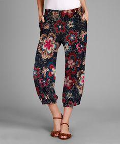 Love this Fuchsia & Navy Floral Pocket Harem Pants - Plus on #zulily! #zulilyfinds
