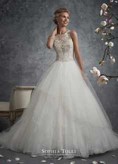 Y21745 dress (Ballgown, Illusion, Straps, Sleeveless ) from Sophia Tolli 2017, as seen on dressfinder.ca. Click for Similar & for Store Locator.