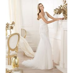 One shoulder Empire Sallow Lace Crystal Court Train wedding Dresses S3509 - White - Sheath/Column - Tulle
