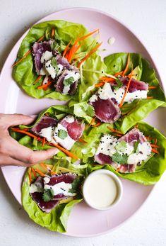 Seared Tuna Lettuce Cups with Wasabi Aioli - The Defined Dish Wasabi Recipes, Spicy Recipes, Asian Recipes, Healthy Recipes, Healthy Meals, Avocado Recipes, Eating Healthy, Fish Recipes, Cooking