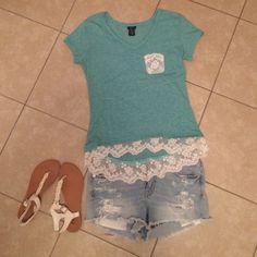 Shirt Teal short sleeve shirt Rue 21 Tops