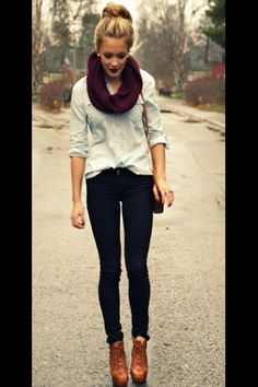 denim shirt, jeans, scarf, and oxfords heels