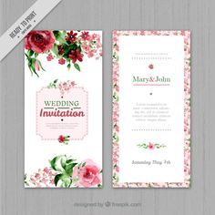 Floral Wedding Invitation In Watercolor Style Elegant Wedding Invitations, Free Printable Wedding Invitations, Free Wedding Invitation Templates, Wedding Invitation Card Design, Watercolor Wedding Invitations, Wedding Cards, Marie, Apple Invitation, Photos Hd