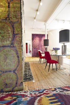 Embrace bold and stunning pattern with a Luke Irwin Enoch or Ikat rug.
