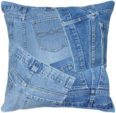 Take a look at this Denim Shorts Runway Pillow by Loloi Rugs on today! Great upcycle idea to use old jeans. Jean Crafts, Denim Crafts, Diy Jeans, Blue Jean Quilts, Denim Decor, Memory Pillows, Denim Bag, Denim Shorts, Denim Ideas