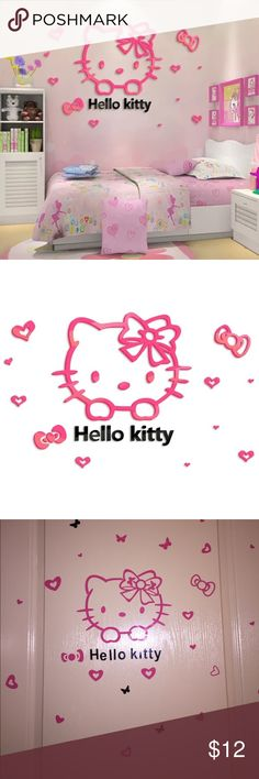 Pink Hello Kitty Poster Pretty little Hello Kitty poster with black alphabet. All parts are stick-one. Kids will have lots of fun putting up this cute poster. The poster must be assembled. Size could be adjustable. Other
