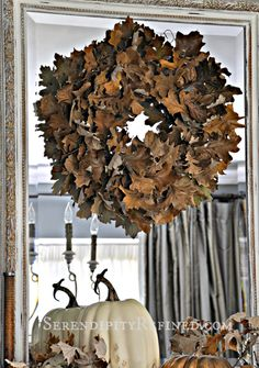 Serendipity Refined: Easy Fall DIY Craft: Rustic Oak Leaf Wreath