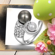 18K white gold plated pearl and Crystal ring Beautiful gray and white pearl with Austrian Crystal ring brand new in gift box  size 6 and size 8 coming soon  Jewelry Rings