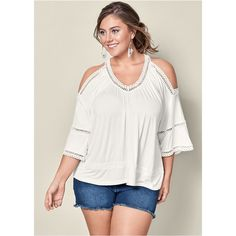 Venus Plus Size Women's Cold Shoulder Lace Trim Tops ($30) ❤ liked on Polyvore featuring plus size women's fashion, plus size clothing, plus size tops, plus size open shoulder tops, white open shoulder top, plus size cold shoulder tops, plus size white tops and loose white top
