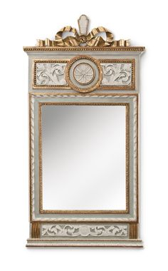 A Swedish Gustavian Period Painted and Parcel Gilt Mirror - Late Century. Mirror Plates, Beautiful Mirrors, Mantle Mirror, Trumeau Mirror, Mirror, Old Mirrors, Mirror Painting, Swedish Decor, Gustavian