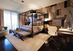 Me encanta esta cama le falta un toque romántico, unas cortinas en los tuvos y amarradas de las esquina de cada tuvo.