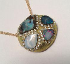 Amazing 4 opal necklace by YaronaJewelryDesign on Etsy, $198.00