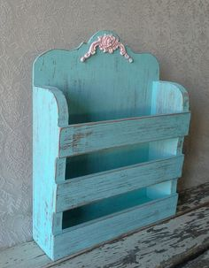 Mail Holder Wooden Organizer Aqua mail holder by SavannahsCottage