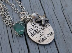 It Made A Difference To That One--Fine Silver--Starfish Poem Necklace  Starfish poem necklace