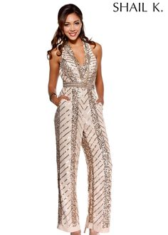 00eb3ab52872 Shail K 3495 - Blush Sleeveless V-Neck Romper Dress - RissyRoos.com Sequin