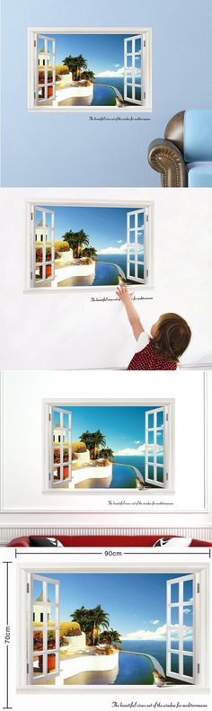 Wall Sticker 3d Magical Fake Window Wall Stickers Natural View Scenery Wall Decals For Living Room Kids Bedroom Decor $6.12