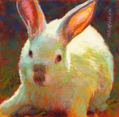 "Daily Paintworks - ""Happy Easter from Marshmallow!"" - Original Fine Art for Sale - © Rita Kirkman Abstract Animal Art, Examples Of Art, Animal Paintings, Pastel Paintings, Bunny Art, Easter Art, City Art, Fine Art Gallery, Happy Easter"