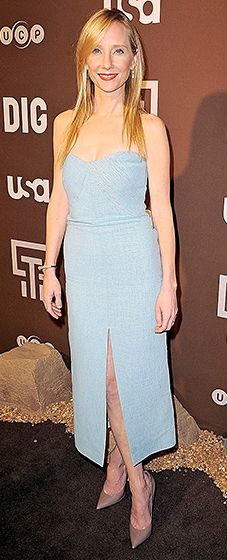 Heche helped to premiere the new series while clad in a strapless, pastel blue dress and cocoa-colored shoes.