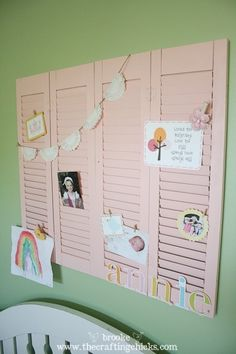 repurposed shutters - cute for playroom or kids bedroom Shutter Wall, Shutter Doors, Upcycled Crafts, Diy Crafts, Old Shutters, Repurposed Shutters, Kids Bulletin Boards, Old Windows, Little Girl Rooms