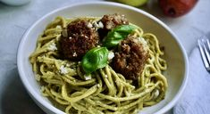 """Vegetarian """"meatballs"""" made with fruit for a perfect plant based meat substitute. This recipe is super easy to make and tastes amazing with pesto sauce! You'll be amazed at how delicious this alternative to traditional Italian meatballs is. We show you exactly how to make them in this recipe. Basil Walnut Pesto, Basil Pesto, Vegetarian Meatballs, Italian Meatballs, Vegetarian Meals, Quick Recipes, Healthy Dinner Recipes, Recipe Girl, Recipe Box"""