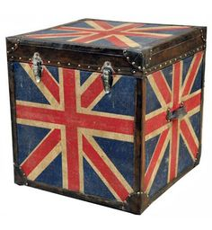 Union Jack Trunk trimmed with Vintage brown leather.