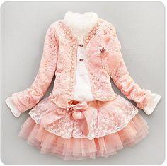 Retail baby girl sets three piece dress(top+t shirt+dress) child clothes set 35db99b690a6