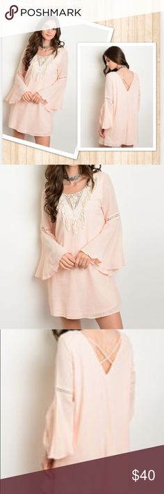 LAST ONE! Leila Bohemian Dress | M Blush Pink | Medium | Flowy and Relaxed Fit | Bell Sleves | New With Tags Anthropologie Dresses Mini