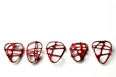 """POLLY HORWICH-UK """"Space Nets 2  2011   A series of steel rings exploring the possibilities of grid distortion"""""""