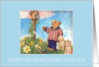 Do Something Nice Day open house invite with cuddly bear,bird & pets
