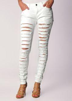White Cut Up Skinny Jeans - Jon Jean