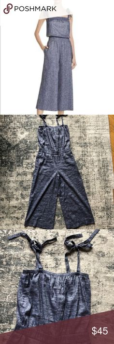 Theory tie shoulder chambray crop jumpsuit. Sz 8 Barely worn chambray/denim Theory tie shoulder jumpsuit with pockets. I bought this last summer and wore it a couple of times. I took the tags off before realizing it was a little too big on me. Now I've lost more weight and it's definitely too big. It's size 8 and would probably fit an 8-10. Waist is stretchy and straps are adjustable. Theory Pants Jumpsuits & Rompers