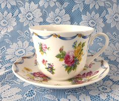 Dresden Spray Breakfast Size Cup And Saucer Roy Kirkham Flowers Floral Bone China