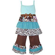 @Overstock - Adorable outfit brings out your little girl's wild side Two-piece capri outfit is truly precious with layers of zebra, floral and polka dot prints Girl's apparel is perfect for a day at the park or at playhttp://www.overstock.com/Clothing-Shoes/AnnLoren-Girls-Safari-Rumba-Capri-Outift/3816600/product.html?CID=214117 $26.99