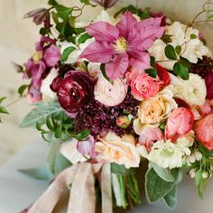 Highlights from 2013 including this pink bouquet with clematis, peonies and ranunculus!