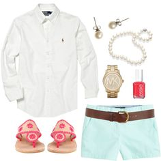 Mint Shorts by classically-preppy on Polyvore