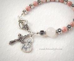 Good Shepherd Rosary Bracelet Rose of Sharon Pink Bohemian Glass Chaplet Prayer Beads