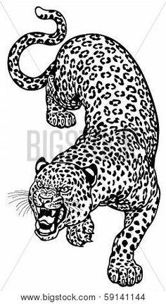 Angry leopard black and white tattoo illustration tattoo Dope Tattoos, Pretty Tattoos, Leg Tattoos, Body Art Tattoos, Tattoo Drawings, Small Tattoos, Tattoos For Guys, Tattos, Jaguar Tattoo