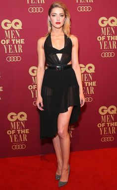 Amber Heard in a plunging black dress