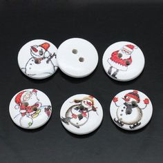 100 pcs Painted WOOD CHRISTMAS BUTTONS . 15mm 5/8 . by SmartParts, $7.50